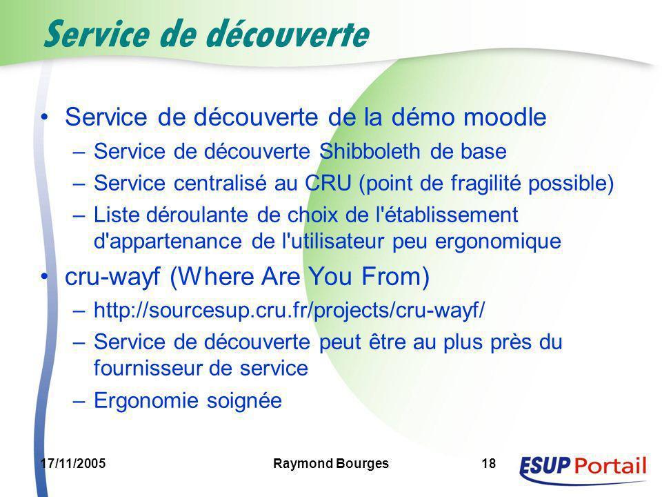17/11/2005Raymond Bourges18 Service de découverte Service de découverte de la démo moodle –Service de découverte Shibboleth de base –Service centralis