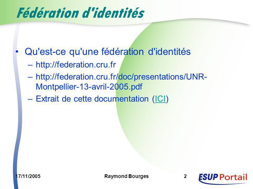 17/11/2005Raymond Bourges2 Fédération d'identités Qu'est-ce qu'une fédération d'identités –http://federation.cru.fr –http://federation.cru.fr/doc/pres