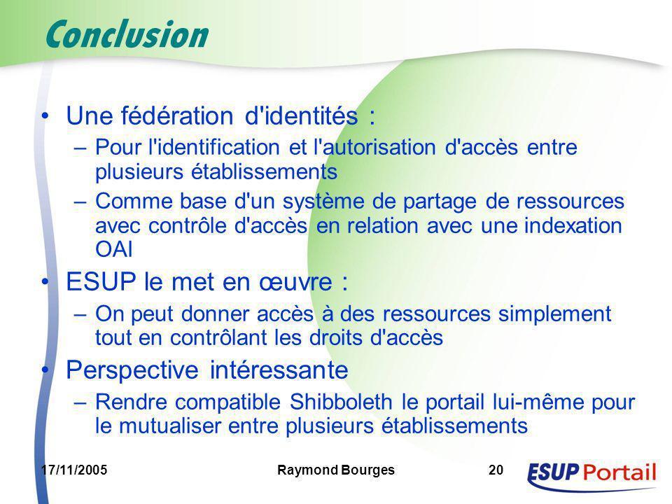 17/11/2005Raymond Bourges20 Conclusion Une fédération d'identités : –Pour l'identification et l'autorisation d'accès entre plusieurs établissements –C