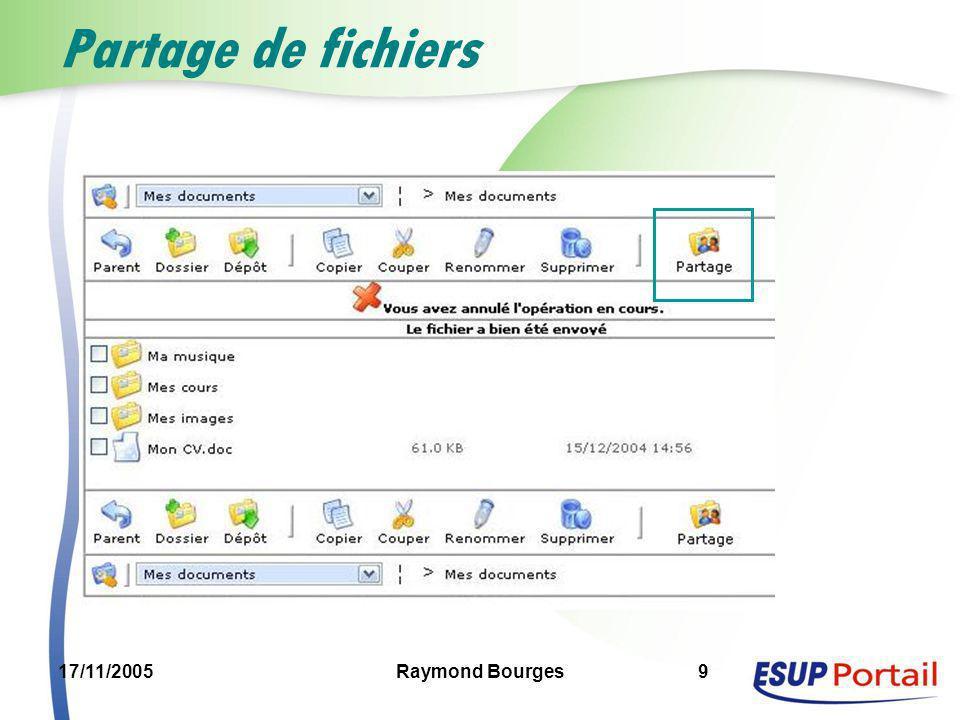 17/11/2005Raymond Bourges9 Partage de fichiers