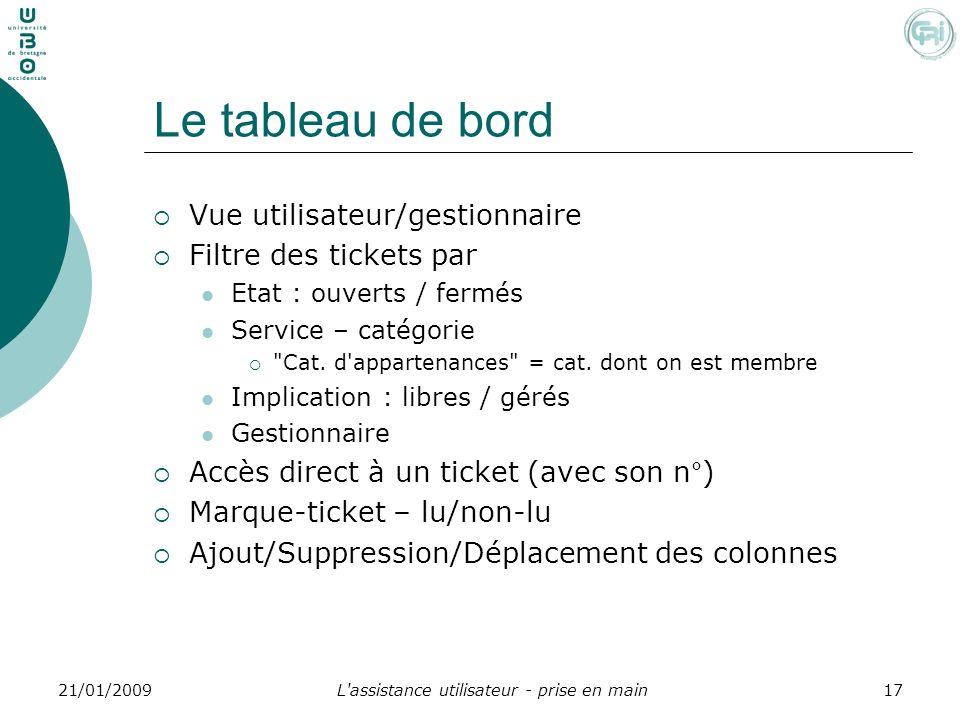 L'assistance utilisateur - prise en main1721/01/2009 Le tableau de bord Vue utilisateur/gestionnaire Filtre des tickets par Etat : ouverts / fermés Se
