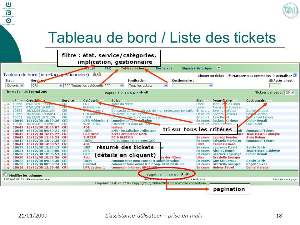 L'assistance utilisateur - prise en main1821/01/2009 Tableau de bord / Liste des tickets pagination résumé des tickets (détails en cliquant) filtre :