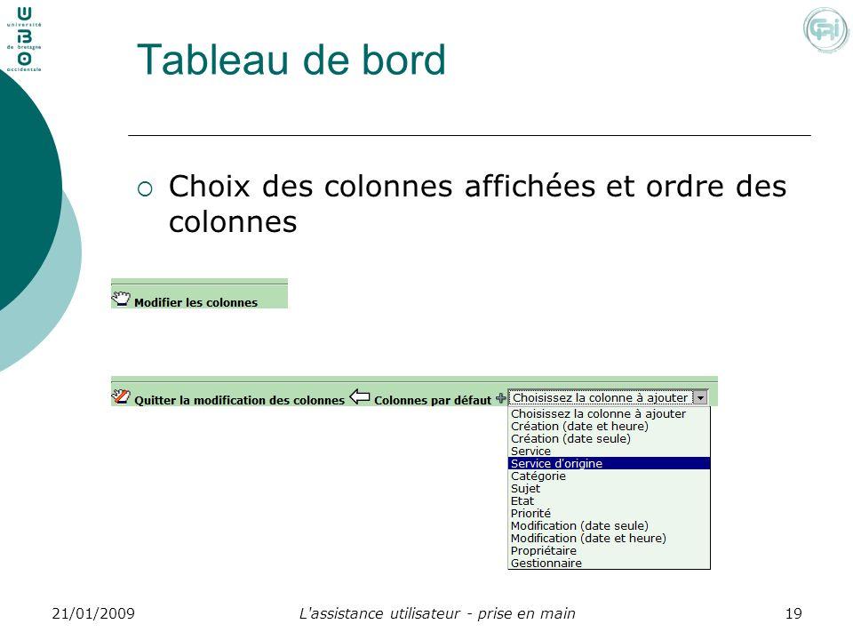 L'assistance utilisateur - prise en main1921/01/2009 Tableau de bord Choix des colonnes affichées et ordre des colonnes