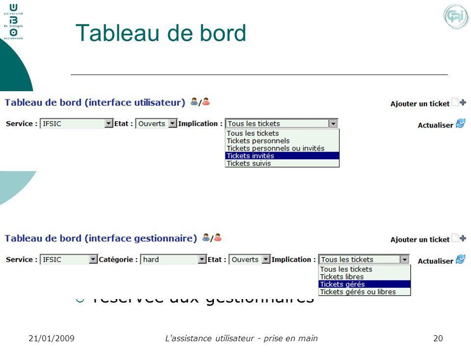 L'assistance utilisateur - prise en main2021/01/2009 Tableau de bord réservée aux gestionnaires