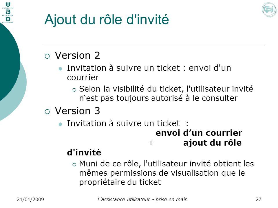 L'assistance utilisateur - prise en main2721/01/2009 Ajout du rôle d'invité Version 2 Invitation à suivre un ticket : envoi d'un courrier Selon la vis