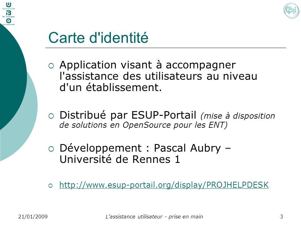 L'assistance utilisateur - prise en main321/01/2009 Carte d'identité Application visant à accompagner l'assistance des utilisateurs au niveau d'un éta