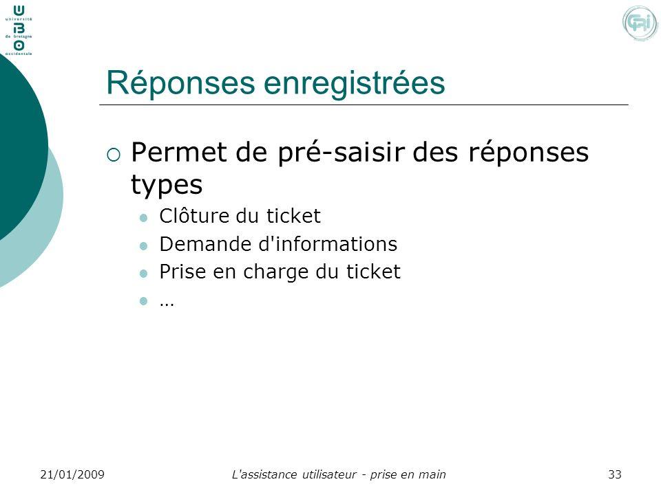 L'assistance utilisateur - prise en main3321/01/2009 Réponses enregistrées Permet de pré-saisir des réponses types Clôture du ticket Demande d'informa