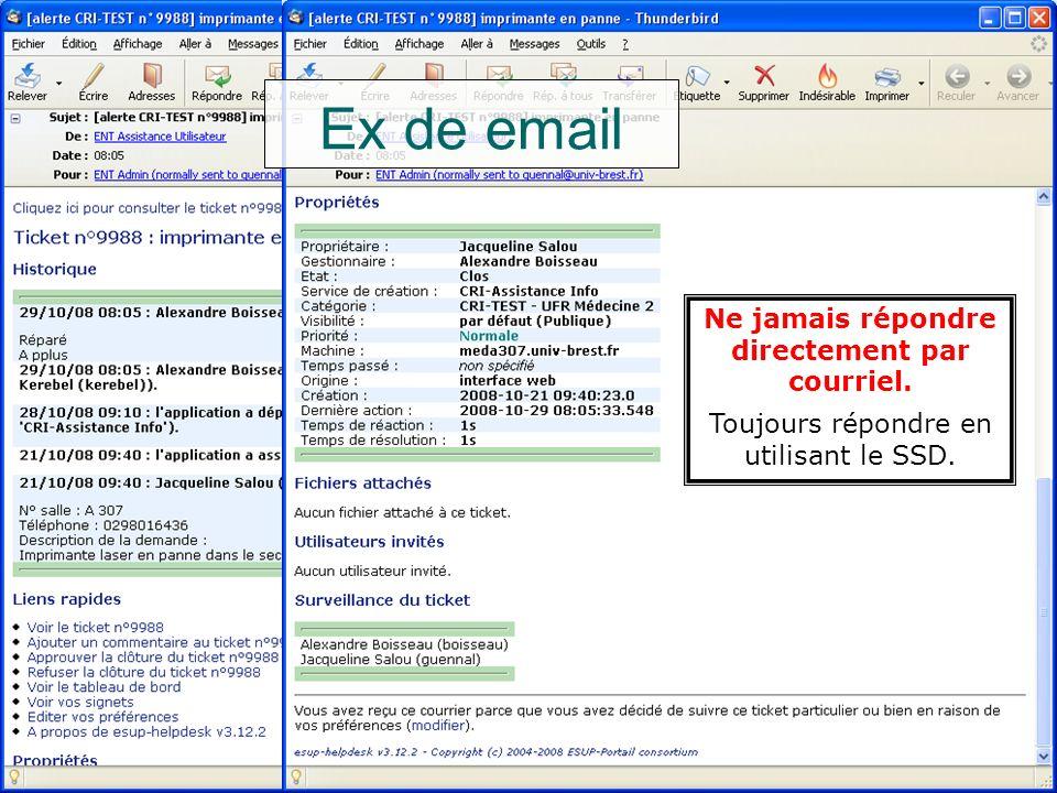L'assistance utilisateur - prise en main3521/01/2009Nouvelle version Système de Suivi des Demandes3501/12/2008SSD V2 ==> SSD V33529/10/2008 Ex de mail