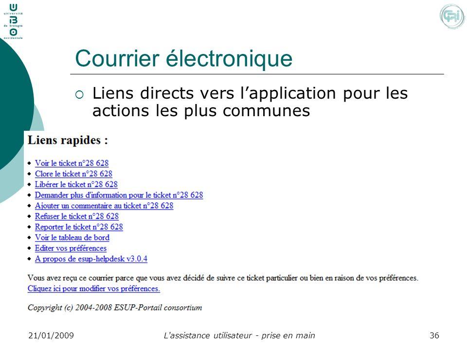 L'assistance utilisateur - prise en main3621/01/2009 Courrier électronique Liens directs vers lapplication pour les actions les plus communes