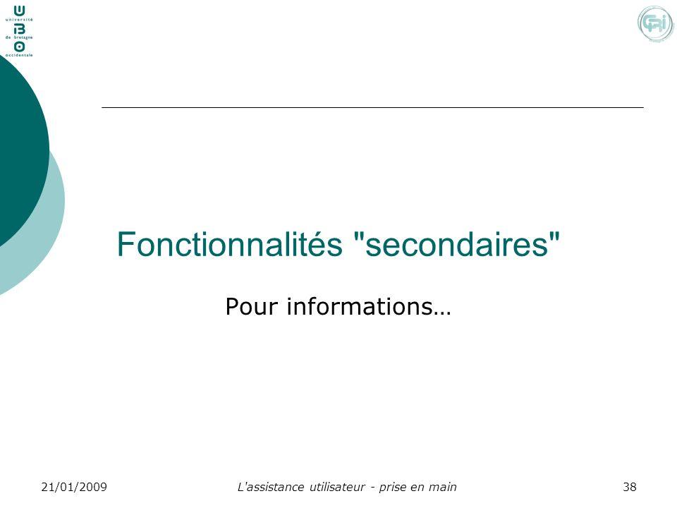 L'assistance utilisateur - prise en main3821/01/2009 Fonctionnalités