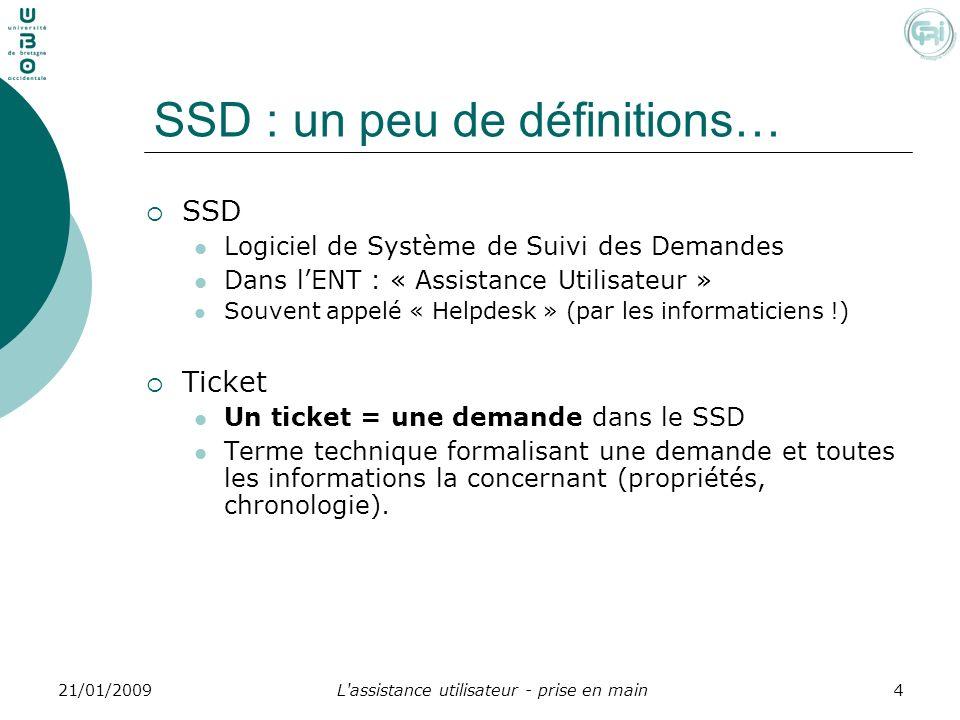 L'assistance utilisateur - prise en main421/01/2009 SSD : un peu de définitions… SSD Logiciel de Système de Suivi des Demandes Dans lENT : « Assistanc
