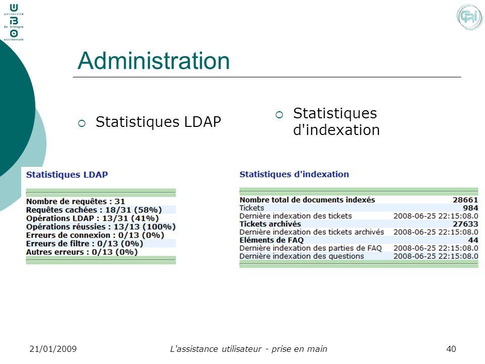 L'assistance utilisateur - prise en main4021/01/2009 Administration Statistiques LDAP Statistiques d'indexation