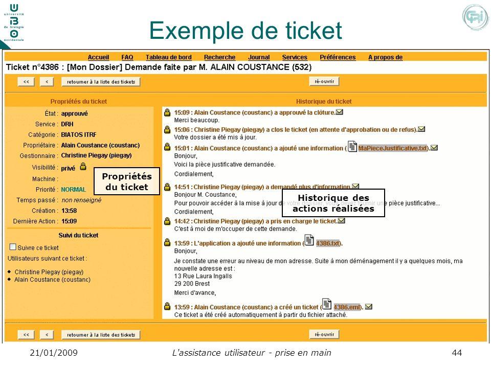 L'assistance utilisateur - prise en main4421/01/2009 Exemple de ticket Historique des actions réalisées Propriétés du ticket