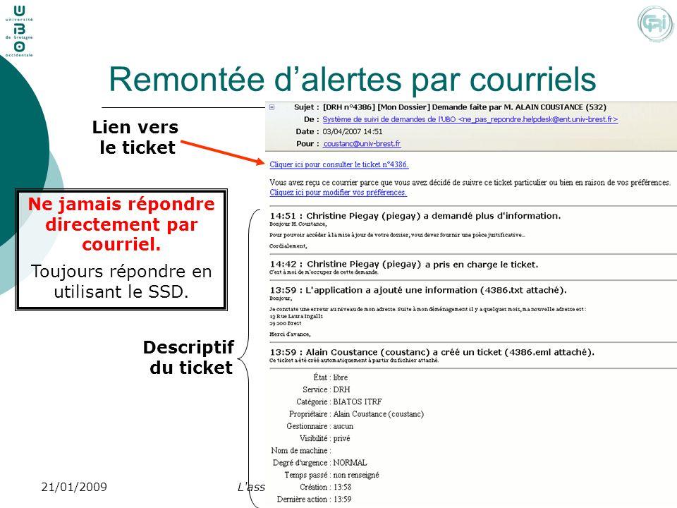 L'assistance utilisateur - prise en main4521/01/2009 Remontée dalertes par courriels Lien vers le ticket Descriptif du ticket Ne jamais répondre direc
