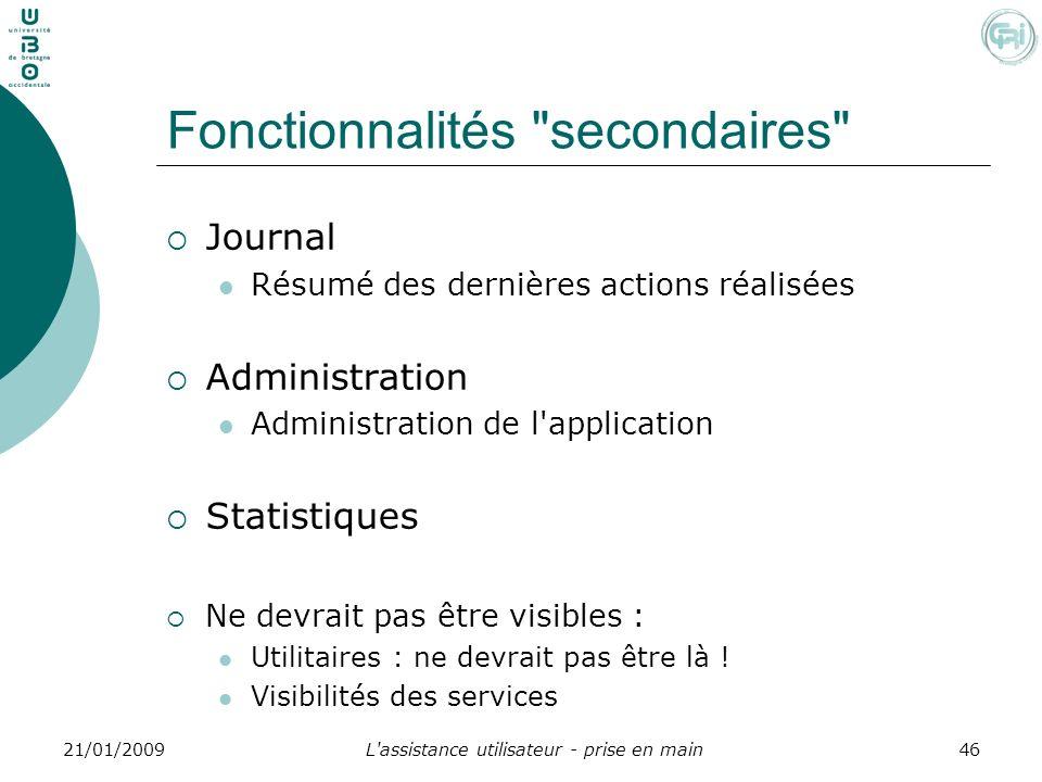 L'assistance utilisateur - prise en main4621/01/2009 Fonctionnalités