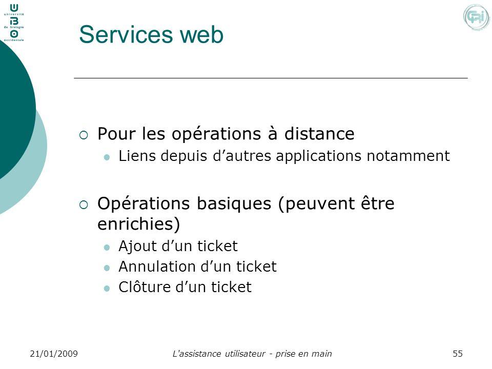 L'assistance utilisateur - prise en main5521/01/2009 Services web Pour les opérations à distance Liens depuis dautres applications notamment Opération
