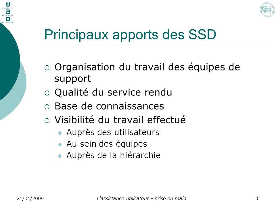 L'assistance utilisateur - prise en main621/01/2009 Principaux apports des SSD Organisation du travail des équipes de support Qualité du service rendu