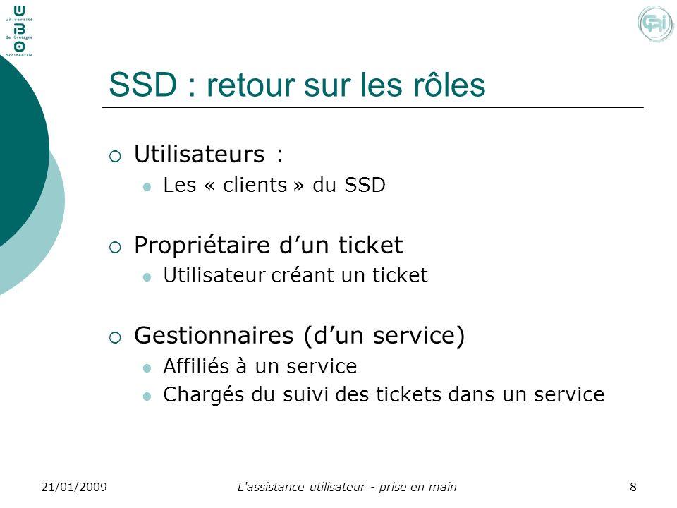 L'assistance utilisateur - prise en main821/01/2009 SSD : retour sur les rôles Utilisateurs : Les « clients » du SSD Propriétaire dun ticket Utilisate