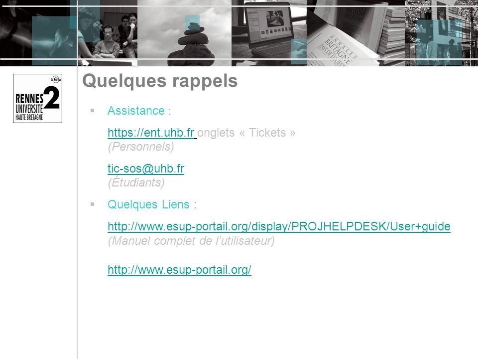 Quelques rappels Assistance : https://ent.uhb.frhttps://ent.uhb.fr onglets « Tickets » (Personnels) tic-sos@uhb.fr tic-sos@uhb.fr (Étudiants) Quelques Liens : http://www.esup-portail.org/display/PROJHELPDESK/User+guide (Manuel complet de lutilisateur) http://www.esup-portail.org/ http://www.esup-portail.org/display/PROJHELPDESK/User+guide http://www.esup-portail.org/