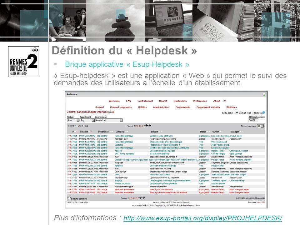 Définition du « Helpdesk » Brique applicative « Esup-Helpdesk » « Esup-helpdesk » est une application « Web » qui permet le suivi des demandes des utilisateurs à léchelle dun établissement.