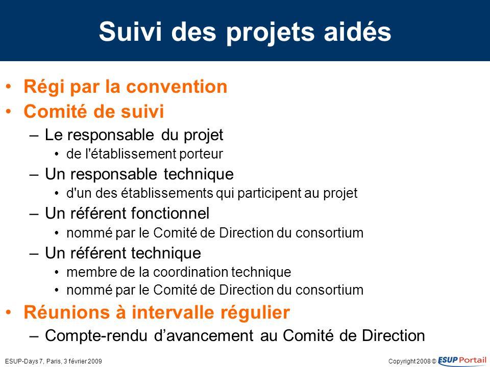 Copyright 2008 ©ESUP-Days 7, Paris, 3 février 2009 Suivi des projets aidés Régi par la convention Comité de suivi –Le responsable du projet de l'établ