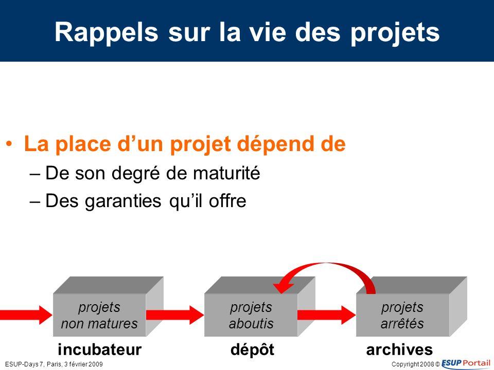 Copyright 2008 ©ESUP-Days 7, Paris, 3 février 2009 Rappels sur la vie des projets La place dun projet dépend de –De son degré de maturité –Des garanti