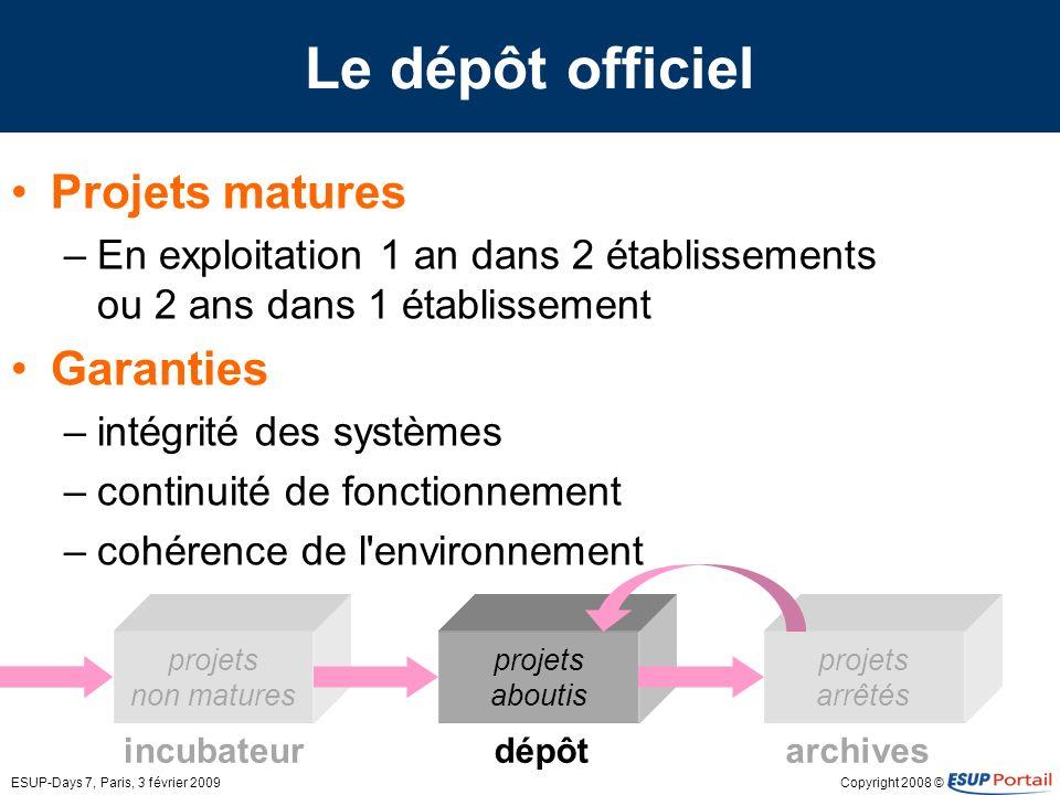 Copyright 2008 ©ESUP-Days 7, Paris, 3 février 2009 incubateurarchives projets arrêtés projets non matures Le dépôt officiel Projets matures –En exploi