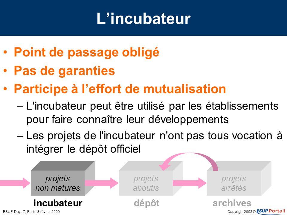 Copyright 2008 ©ESUP-Days 7, Paris, 3 février 2009 dépôt projets aboutis incubateurarchives projets arrêtés projets non matures Lincubateur Point de p
