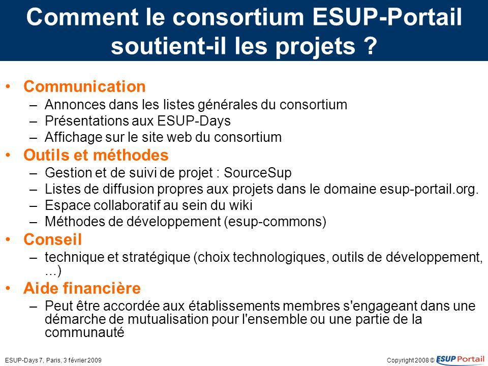 Copyright 2008 ©ESUP-Days 7, Paris, 3 février 2009 Comment le consortium ESUP-Portail soutient-il les projets ? Communication –Annonces dans les liste