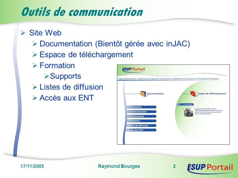 17/11/2005Raymond Bourges2 Outils de communication Site Web Documentation (Bientôt gérée avec inJAC) Espace de téléchargement Formation Supports Listes de diffusion Accès aux ENT