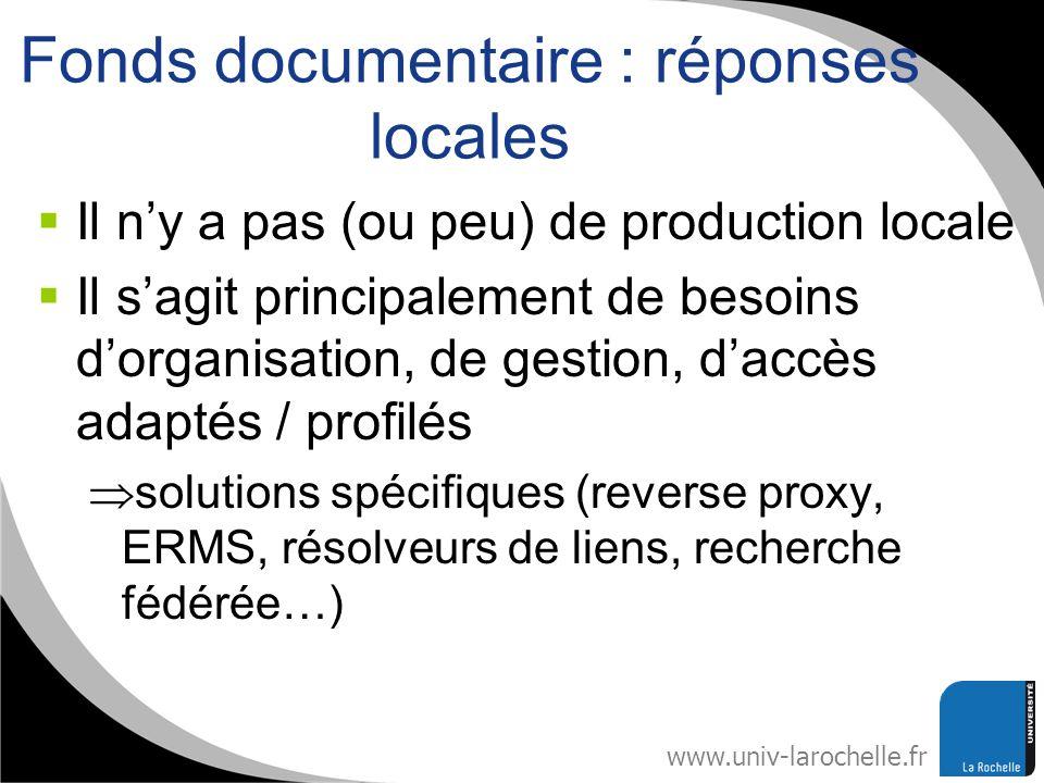 www.univ-larochelle.fr Fonds documentaire : réponses locales Il ny a pas (ou peu) de production locale Il sagit principalement de besoins dorganisatio