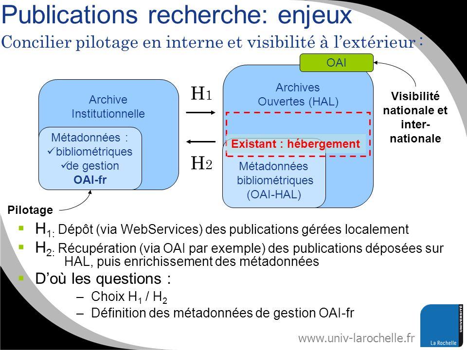 www.univ-larochelle.fr Publications recherche: enjeux Archive Institutionnelle Métadonnées : bibliométriques de gestion OAI-fr Archives Ouvertes (HAL)