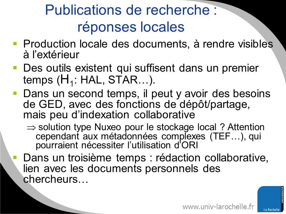 www.univ-larochelle.fr Publications de recherche : réponses locales Production locale des documents, à rendre visibles à lextérieur Des outils existen