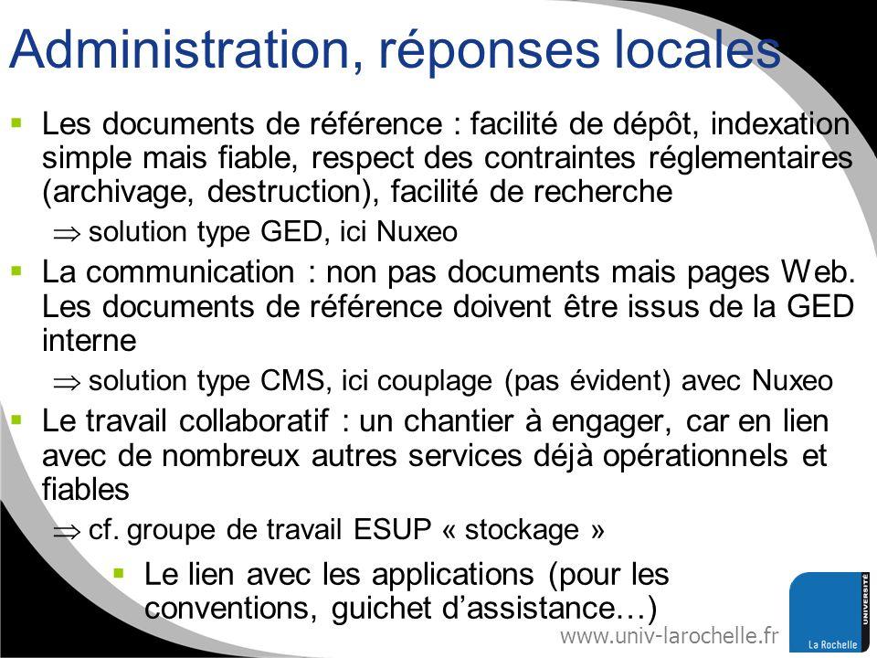 www.univ-larochelle.fr Administration, réponses locales Les documents de référence : facilité de dépôt, indexation simple mais fiable, respect des con