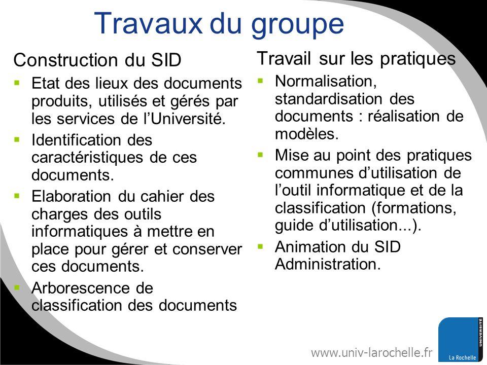 www.univ-larochelle.fr Travaux du groupe Construction du SID Etat des lieux des documents produits, utilisés et gérés par les services de lUniversité.