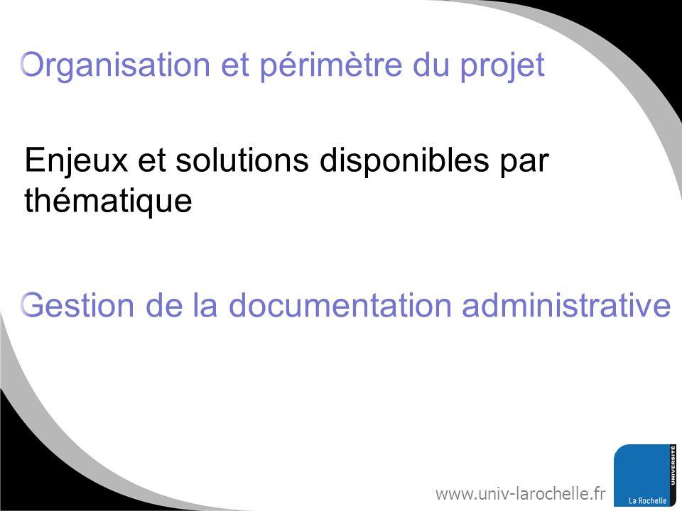 www.univ-larochelle.fr Enjeux et solutions disponibles par thématique