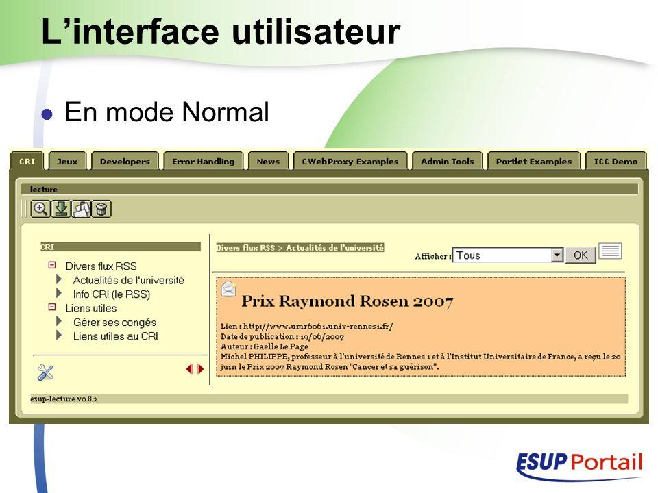 Linterface utilisateur En mode Normal