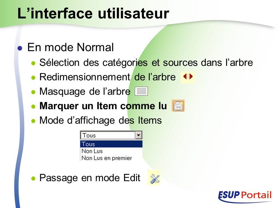 Linterface utilisateur En mode Normal Sélection des catégories et sources dans larbre Redimensionnement de larbre Masquage de larbre Marquer un Item comme lu Mode daffichage des Items Passage en mode Edit
