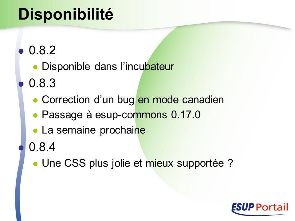 Disponibilité 0.8.2 Disponible dans lincubateur 0.8.3 Correction dun bug en mode canadien Passage à esup-commons 0.17.0 La semaine prochaine 0.8.4 Une CSS plus jolie et mieux supportée
