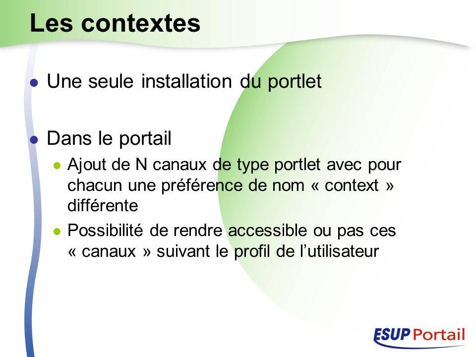 Les contextes Une seule installation du portlet Dans le portail Ajout de N canaux de type portlet avec pour chacun une préférence de nom « context » différente Possibilité de rendre accessible ou pas ces « canaux » suivant le profil de lutilisateur