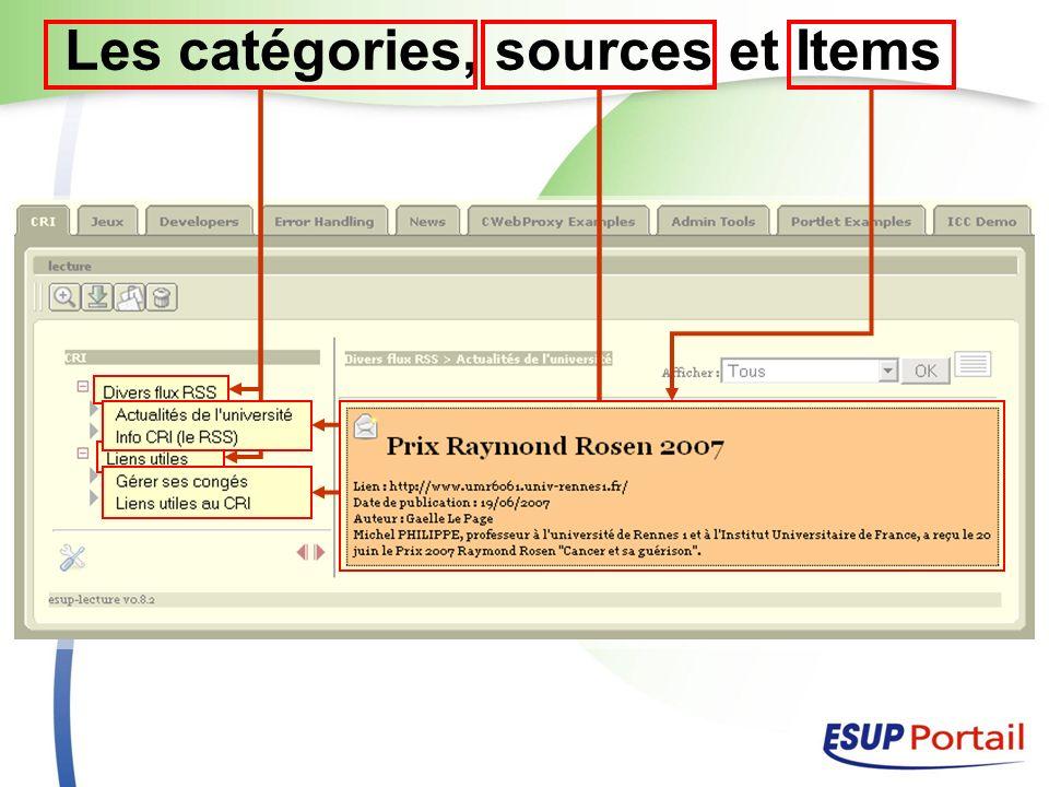 Quelles sources possibles Tout flux XML Avec structure répétable ou non pour former un ou des Items Détection automatique du format XML de la source DTD, Xml Schéma, Espace de nom, élément root, url XPath de sélection des Items XSLT pour générer le XHTML de chaque Item Fonctionne donc avec du RSS mais pas seulement