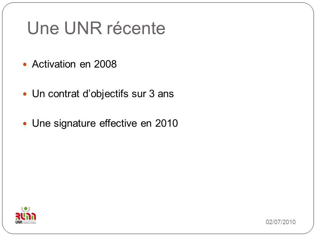 02/07/2010 Une UNR récente Activation en 2008 Un contrat dobjectifs sur 3 ans Une signature effective en 2010