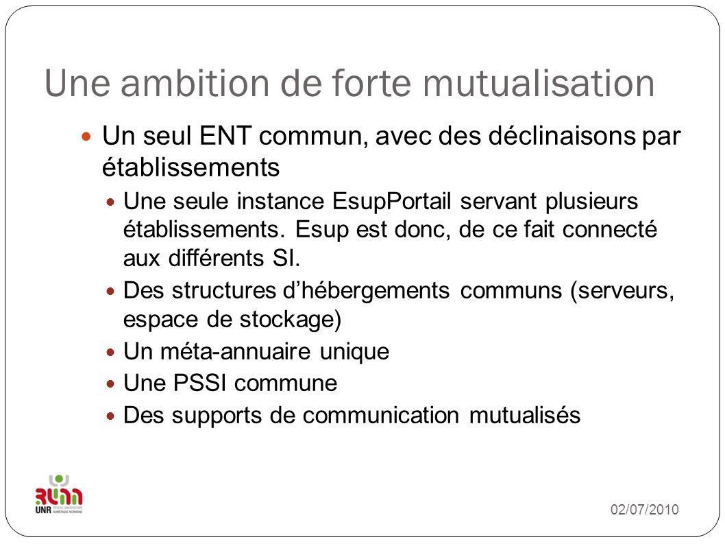 Une ambition de forte mutualisation Un seul ENT commun, avec des déclinaisons par établissements Une seule instance EsupPortail servant plusieurs étab