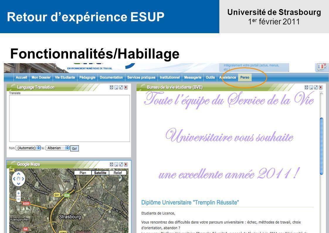 Université de Strasbourg 1 er février 2011 Retour dexpérience ESUP Fonctionnalités/Habillage