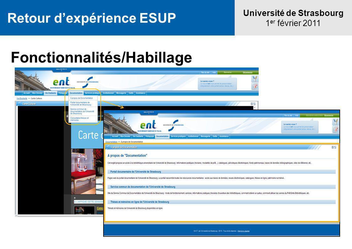 Retour dexpérience ESUP Université de Strasbourg 1 er février 2011 Fonctionnalités/Habillage