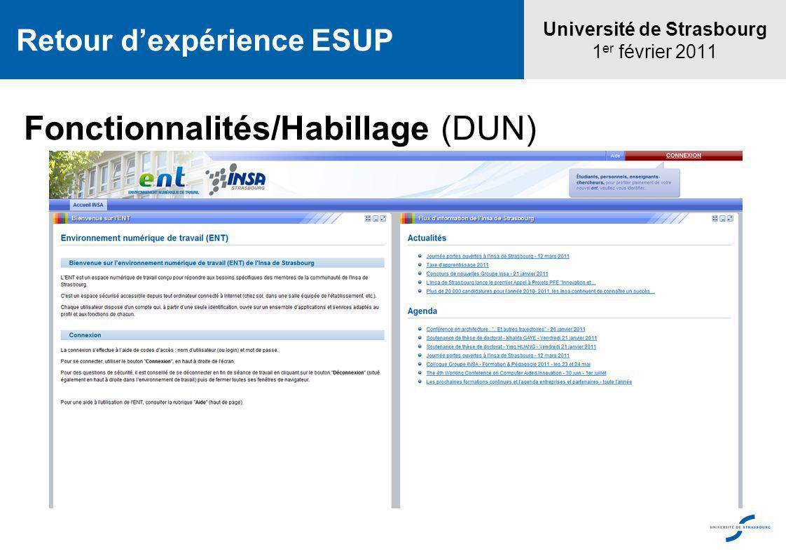 Université de Strasbourg 1 er février 2011 Retour dexpérience ESUP Fonctionnalités/Habillage (DUN)