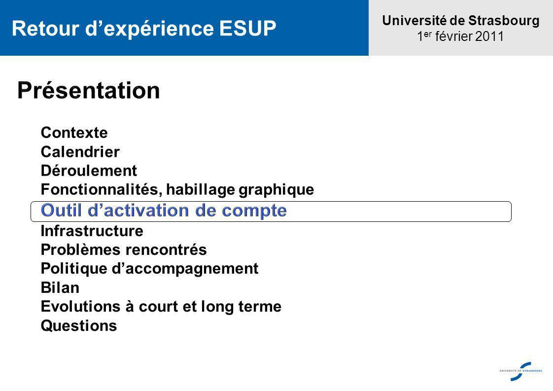 Université de Strasbourg 1 er février 2011 Retour dexpérience ESUP