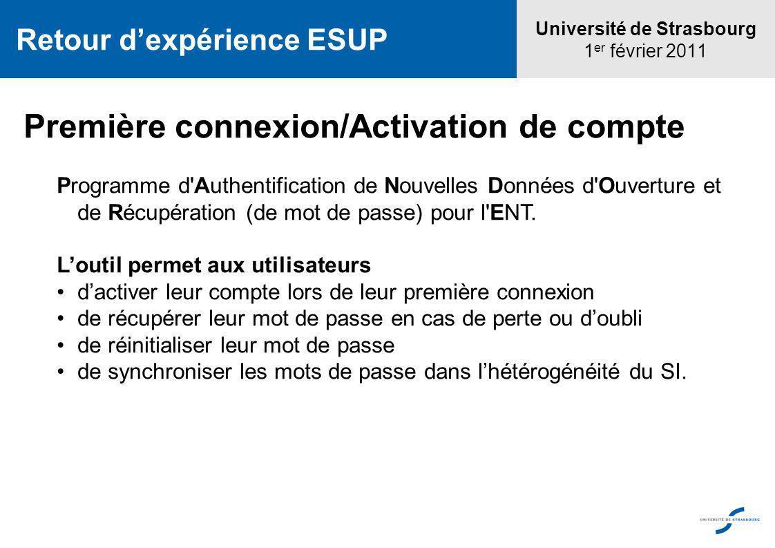 Université de Strasbourg 1 er février 2011 Retour dexpérience ESUP Première connexion/Activation de compte Programme d'Authentification de Nouvelles D