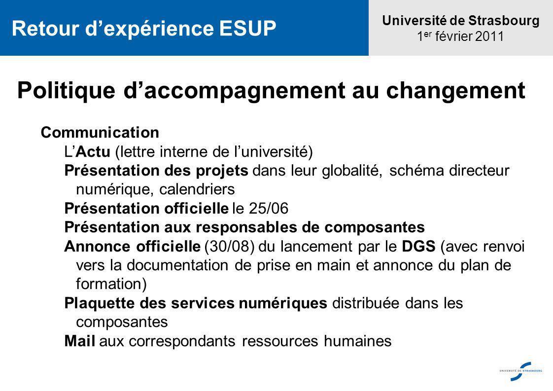 Université de Strasbourg 1 er février 2011 Retour dexpérience ESUP Politique daccompagnement au changement Communication LActu (lettre interne de luni