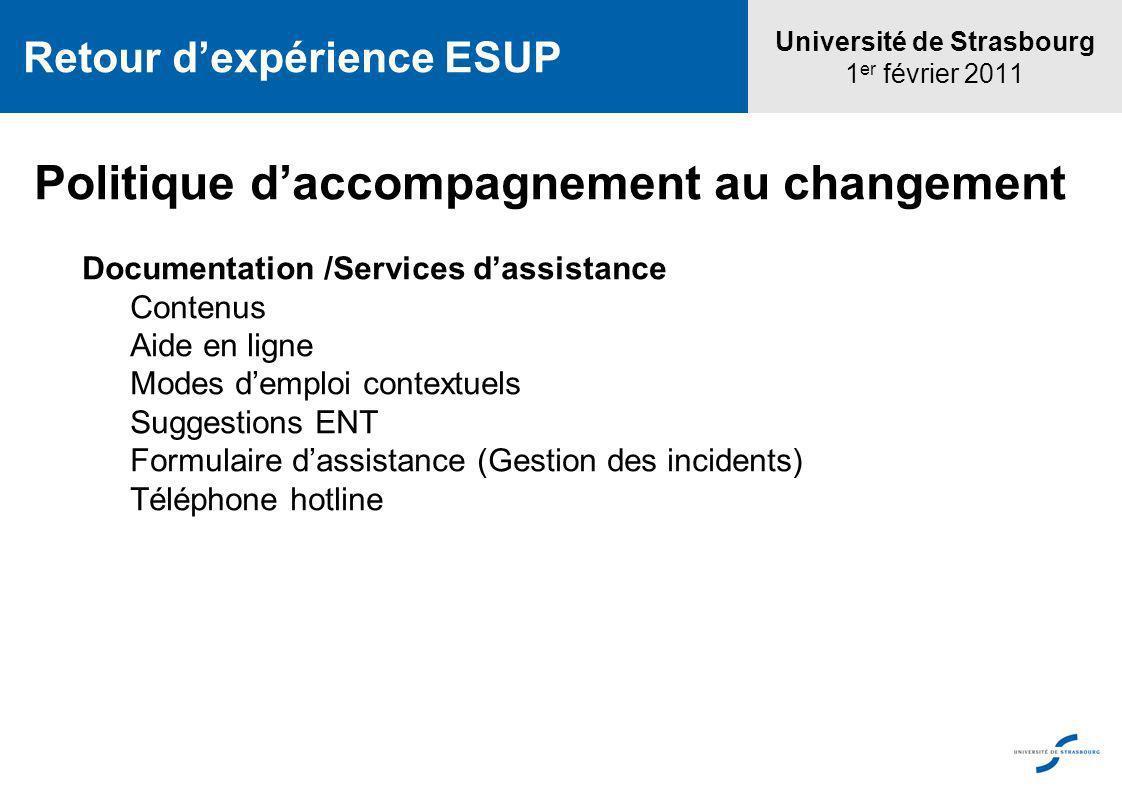 Université de Strasbourg 1 er février 2011 Retour dexpérience ESUP Politique daccompagnement au changement Documentation /Services dassistance Contenu